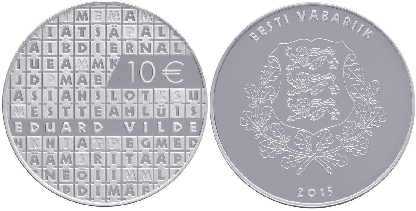 10 EUR 2015 Estland Estonia Eesti 150. Geburtstag des Dichters Eduard Vilde Polierte Platte