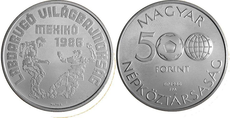 500 Forint 1986 Ungarn - Hungary Fußball WM 1986 in Mexiko - Spielszene Polierte Platte