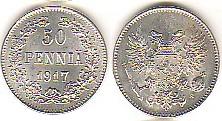 50 Penniä 1917 FINNLAND Großfürstentum Russland prov.Reg. Kursmünze 50 Penniä 1917 in außergewöhnlicher Erhaltung vorzüglich