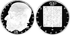 200 Kronen 1998 Tschechien - Czech Republic - Ceská republika František Palacký - 200. Geburtstag Stempelglanz