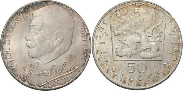 50 Kronen 1971 CSR / CSSR / CSFR Tschechoslowakei Pavol Orszzagh Hvietzdoslaw - DIchter 50. Todestag Stgl.