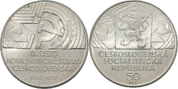 50 Kronen 1979 CSR / CSSR / CSFR - Tschechoslowakei IX. Parteitag der KPC - 30. Jahrestag unzirkuliert