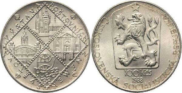 100 Kronen 1988 CSR/CSSR/CSFR - Tschechoslowakei Praga 88 Internationale Briefmarkenausstellung (Motivphilatelie) unzirkuliert