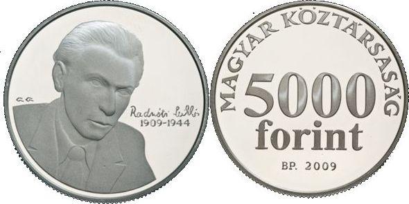5000 Forint 2009 Ungarn - Hungary - Magyaroszág 100. Geburtstag von Miklos Radnoti- Dichter Stempelglanz BU