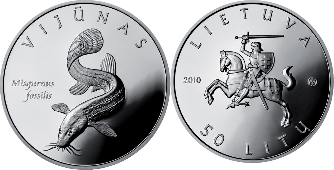 50 Litu 2010 Litauen - Lietuva- Lithuania Vijunas – ein Fisch: Misguruns fissilis – Europäischer Schlammpeitzger Proof - Polierte Platte