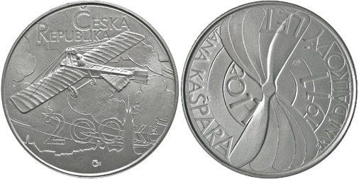 200 Kronen 2011 Tschechien - Czech Republic - Ceská republika 100. Jahrestag des ersten Motorflugs von Jan Kaspar Stempelglanz