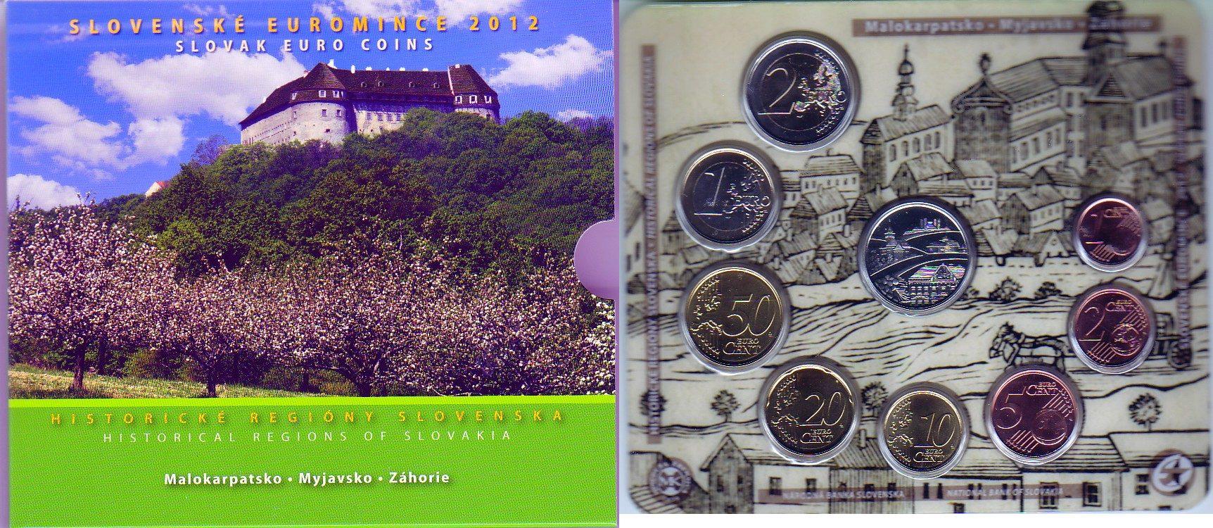 "3,88 EURO 2012 Slowakei Kursmünzensatz ""Historische Regionen der Slowakei 2012 – Malokarpatsko, Myjavsko unzirkliert handgehoben"