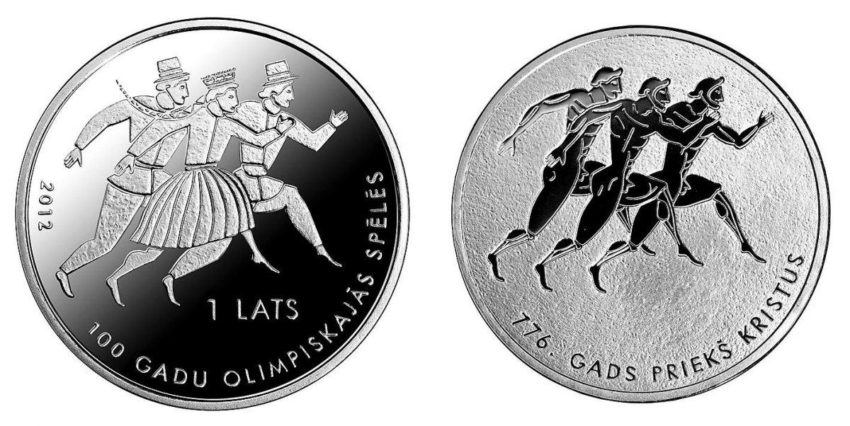 1 Lats mit Box und Certifcate 2012 Lettland - Latvija - Latvia Ehrung der lettischen Olympiasieger 1912-2012 Polierte Platte
