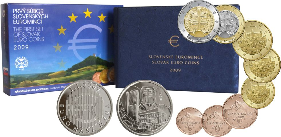 3,88 EUR Kurssatz 2009 Slowakei Erster Kurssatz in PP für EUR-Münzen RAR nur 8000 St. Auflage Polierte Platte - PP