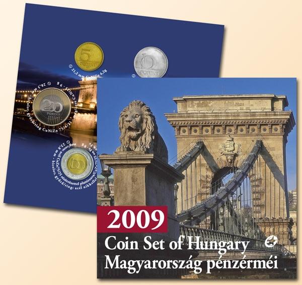 Original-Kursmünzenserie 2009 Ungarn Hungary Original Kurssatz 2009 mit 200 Ft Kettenbrücke PP / Proof