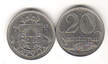 20 Santimi 1922 Lettland - Latvija - Latvia Umlaufmünze 20 Santimi vorzüglich- fast unzirkuliert