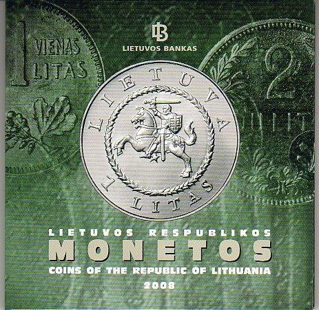 8,88 Litu Kurssatz 2008 Litauen - Lithuania Original Kurssatz 2008 4. Ausgabe unzirkuliert UNC