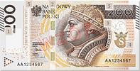 Polen - Poland - Polska 200 Zlotych 2015 SERIE AB (!) RAR Umlaufnote 200 Zlotych 2015