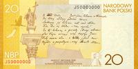 Polen Polska 20 Zlotych Juliusz Slowacki 2009 Gedenkbanknote
