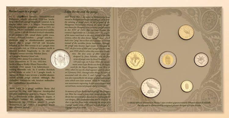 2007 Ungarn Hungary Original Kursmünzensatz Beran mit 5 Pengö Silber BU BU Unzirkuliert