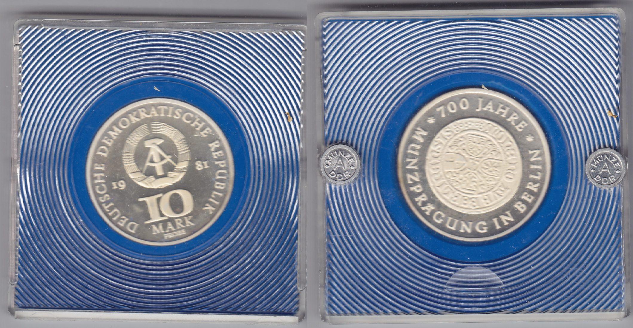 DDR 10 Mark 700 Jahre Berlin 1981 Motivprobe Ag original PP