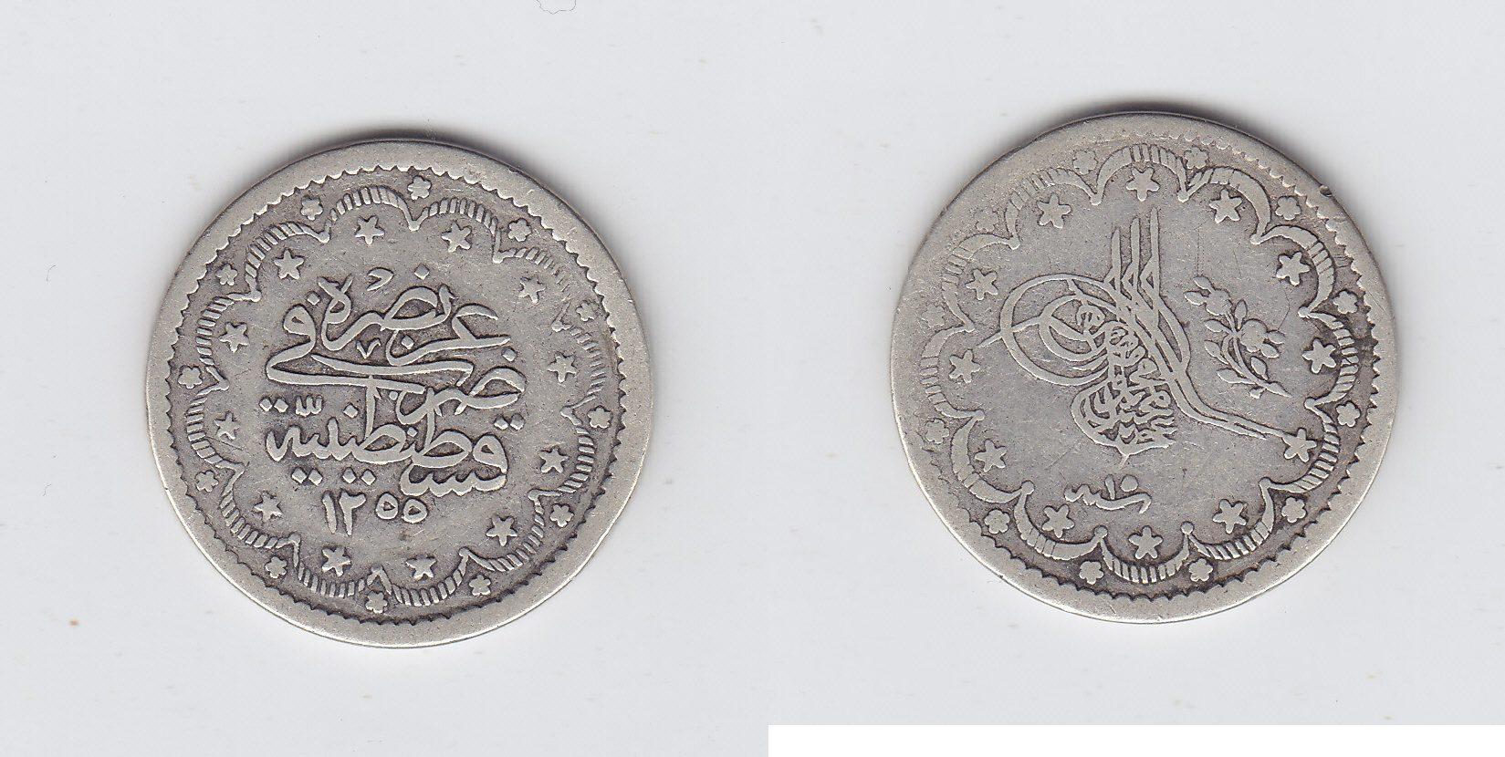 Türkei 5 Kurusch 1255/15AH Konst. ss