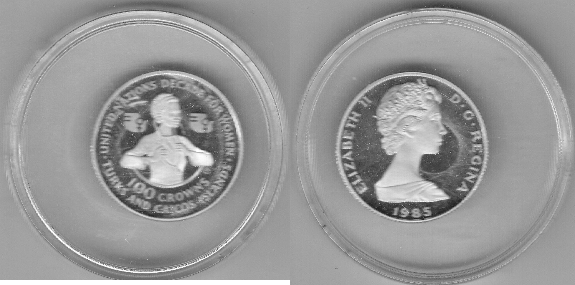 Turks and Caicoos 100 Crowns 1985 Dekade der Frau