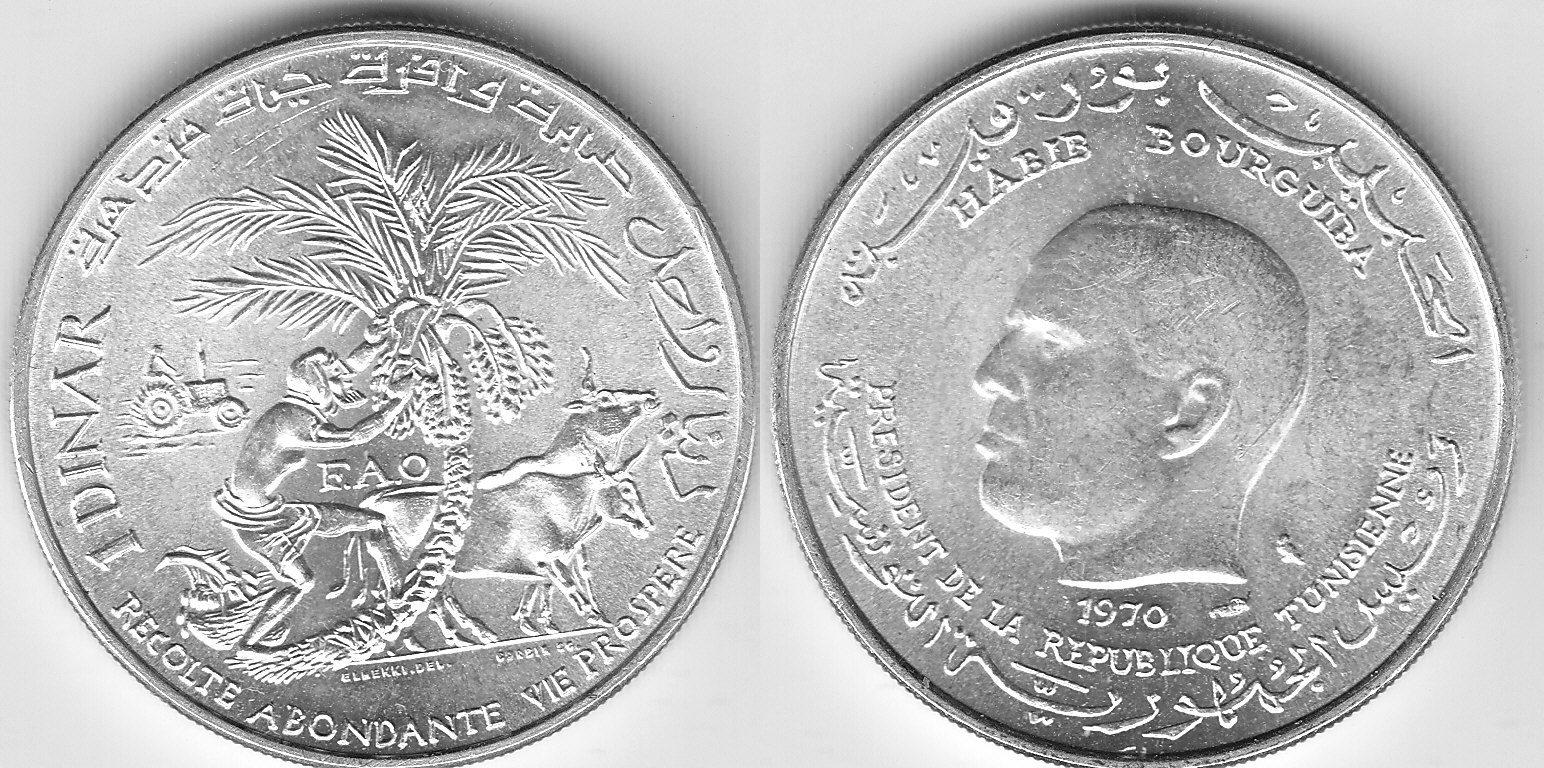 Tunesien 1 Dinar FAO 1970 unz