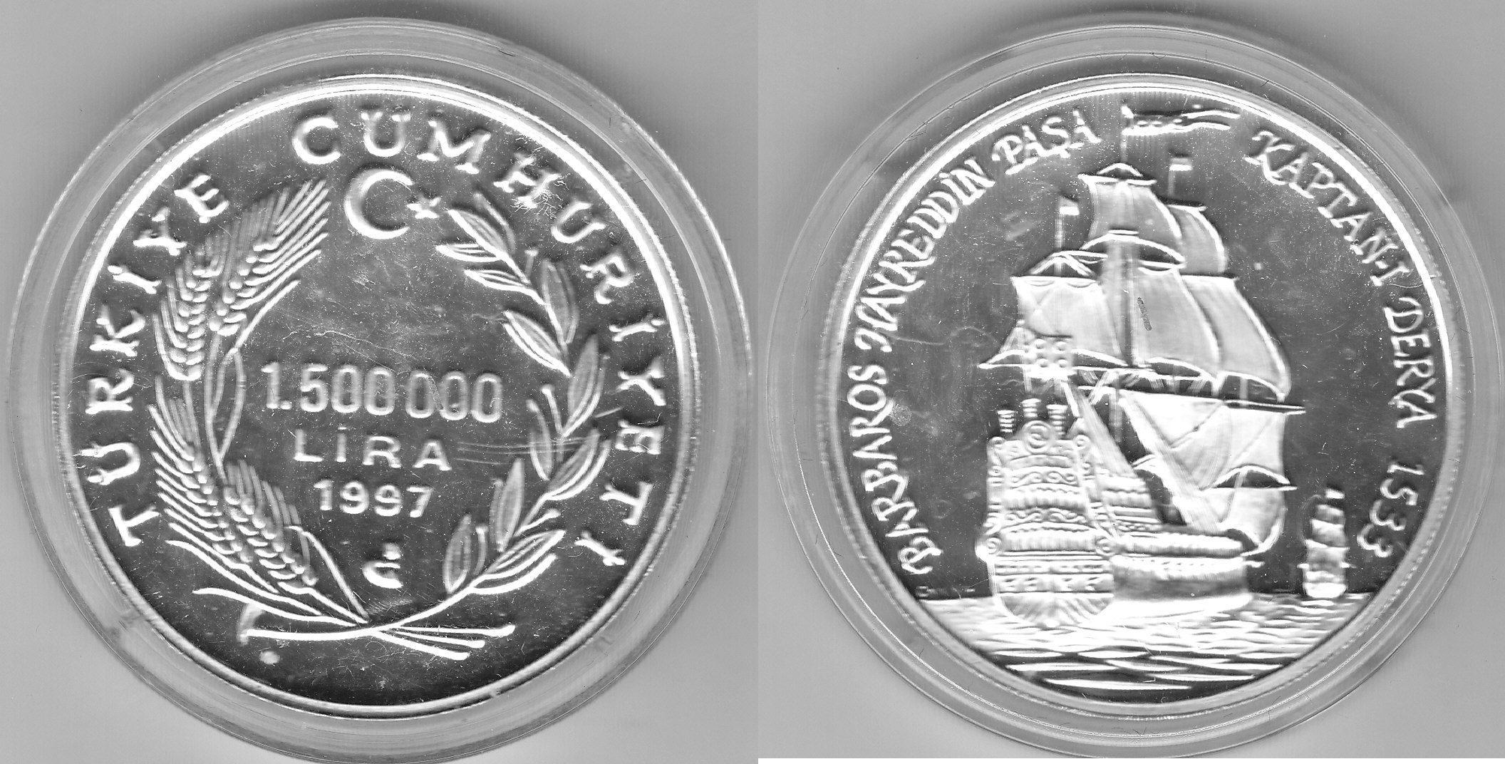Türkei 1.500.000 Lira 1997 Barbaros proof
