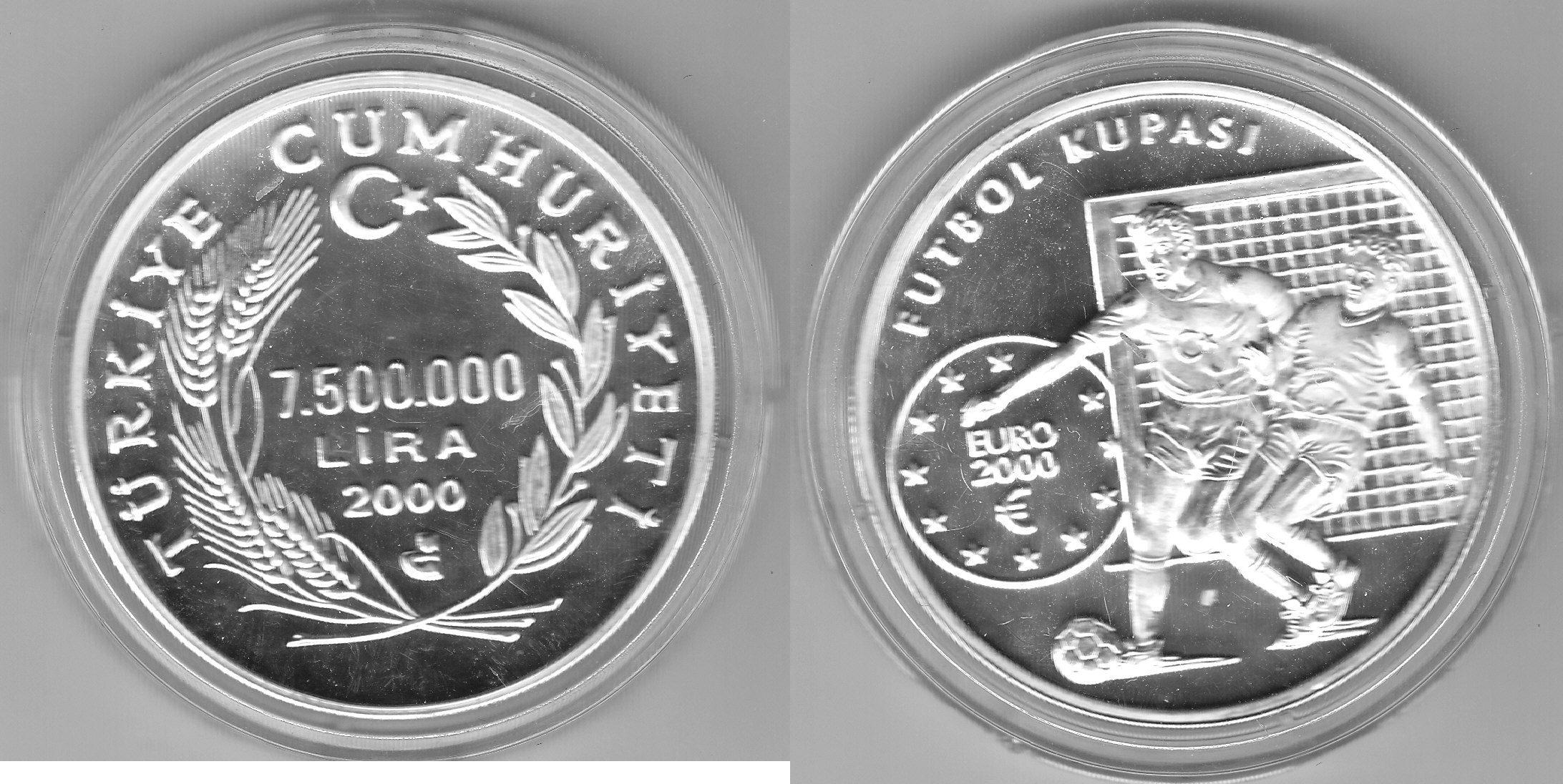 Türkei 7.500.000 Lira Fußball EM 2000 proof