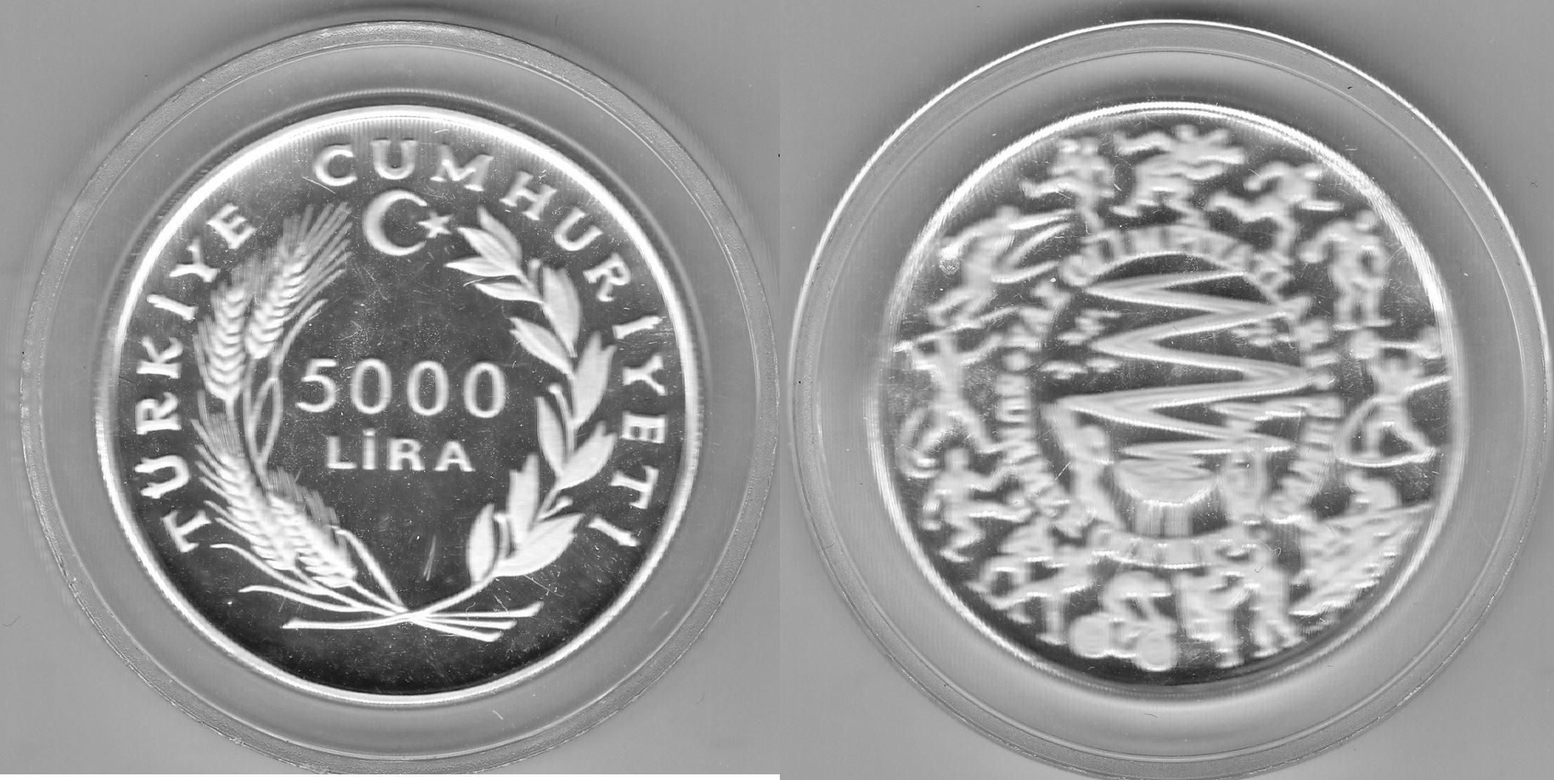 Türkei 5000 Lira 1984 Sommerspiele proof