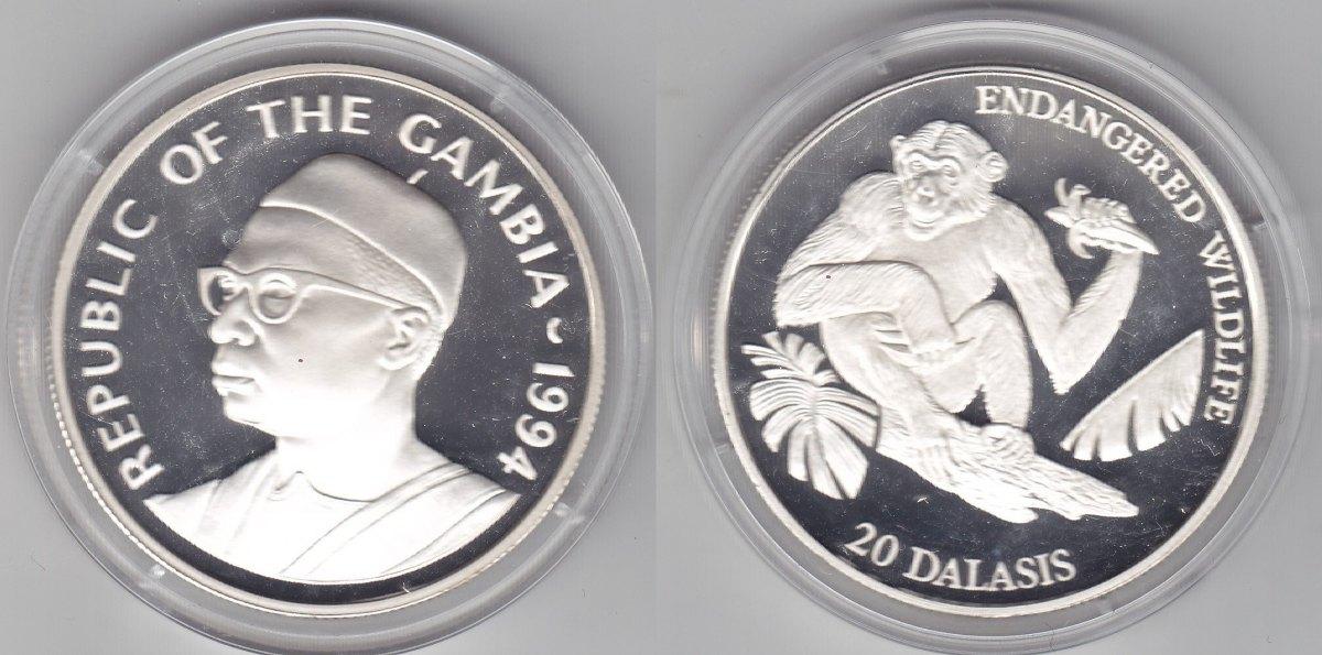 Gambia 20 Dalasis 1994 Schimpanse proof