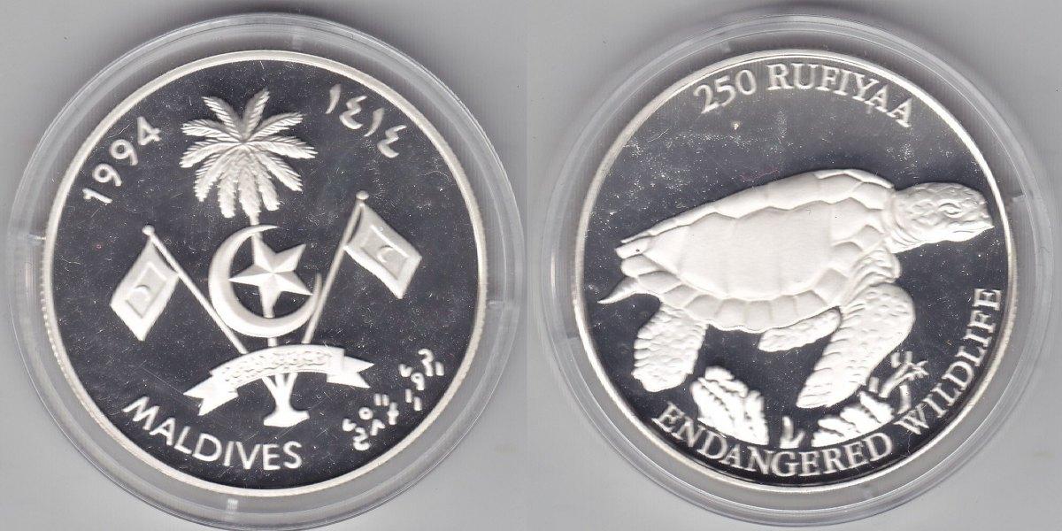 Malediven 250 Rufiyaa 1994 Schildkröte proof