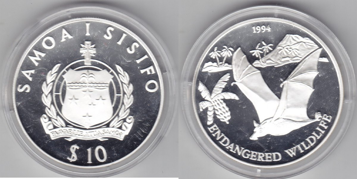 Samoa 10 Dollar 1994 Fledermaus proof