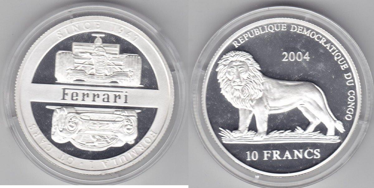 Kongo 10 Francs 2004 Ferrari proof mit Box u. Zert.