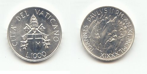 1000 1989 Vatikanstadt 1000 Lire Päpstliches Rundschreiben Stempelglanz
