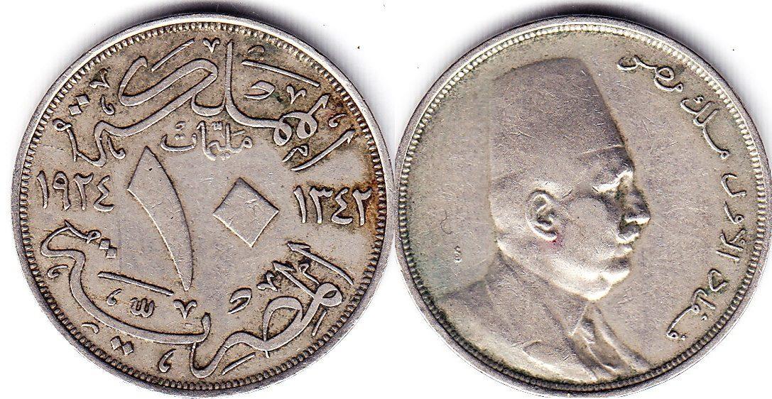 Ägypten 10 Millieme 1924 SS