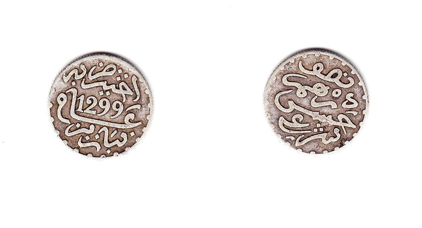 Marokko 1/2 Dirham 1299 AH Paris ss