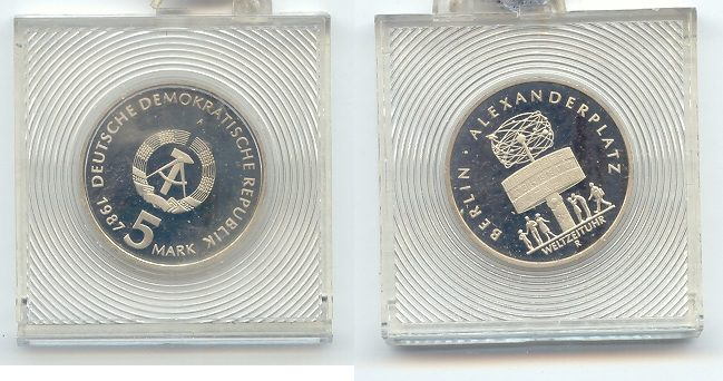 5 1987 DDR DDR 5 Mark Berlin Alexanderplatz Gedenkmuenze Polierte Platte