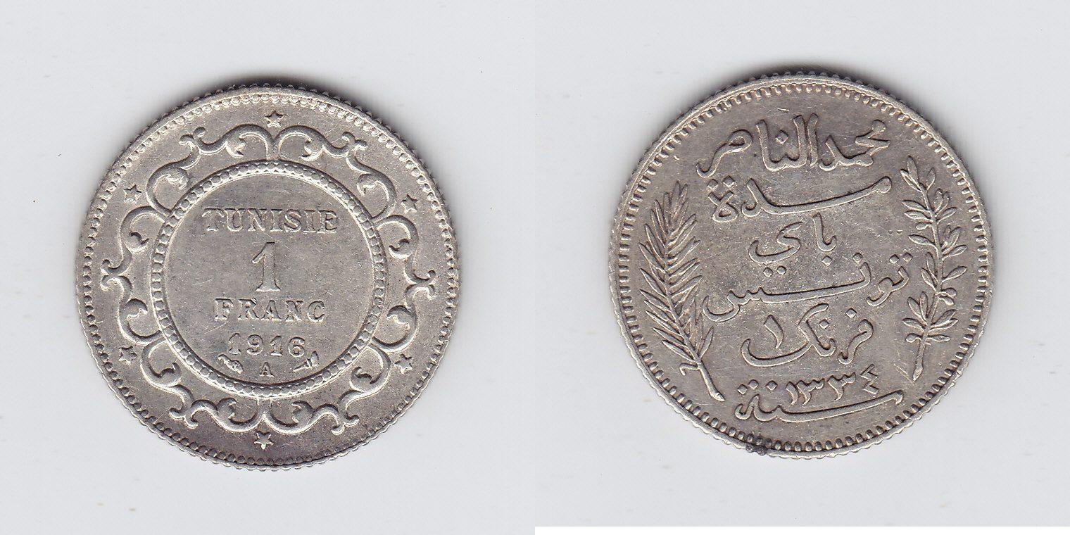 Tunesien 1 Francs 1916/1334 vz