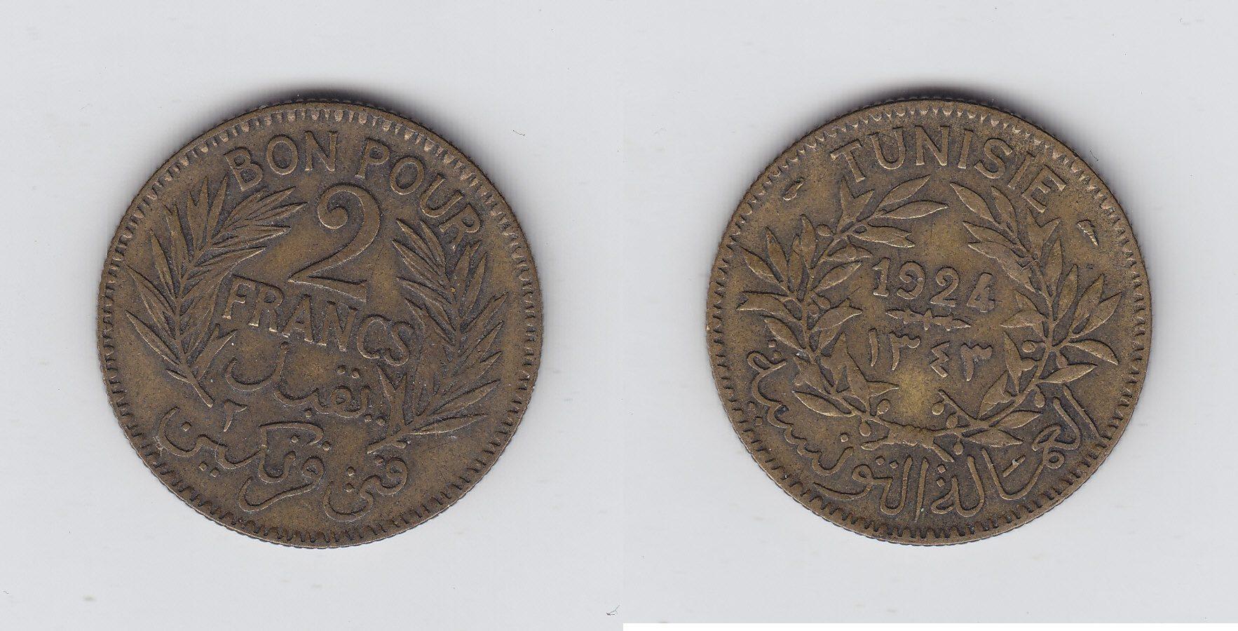 Tunesien 2 Francs 1924 ss