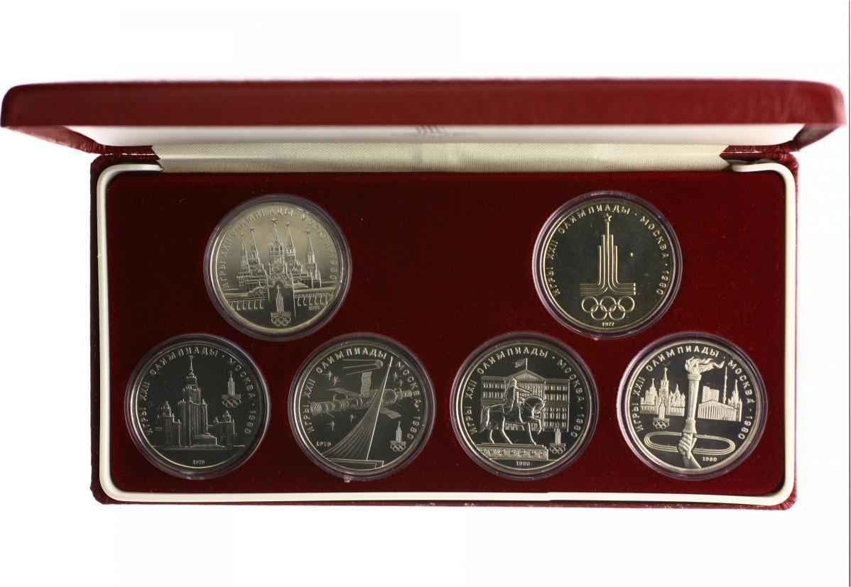 Serie Von 6 Stücken 1 Rubel 1977 1980 Russland Olympische Spiele 1980 In Moskau St Iorigetui Mit Zertifikat