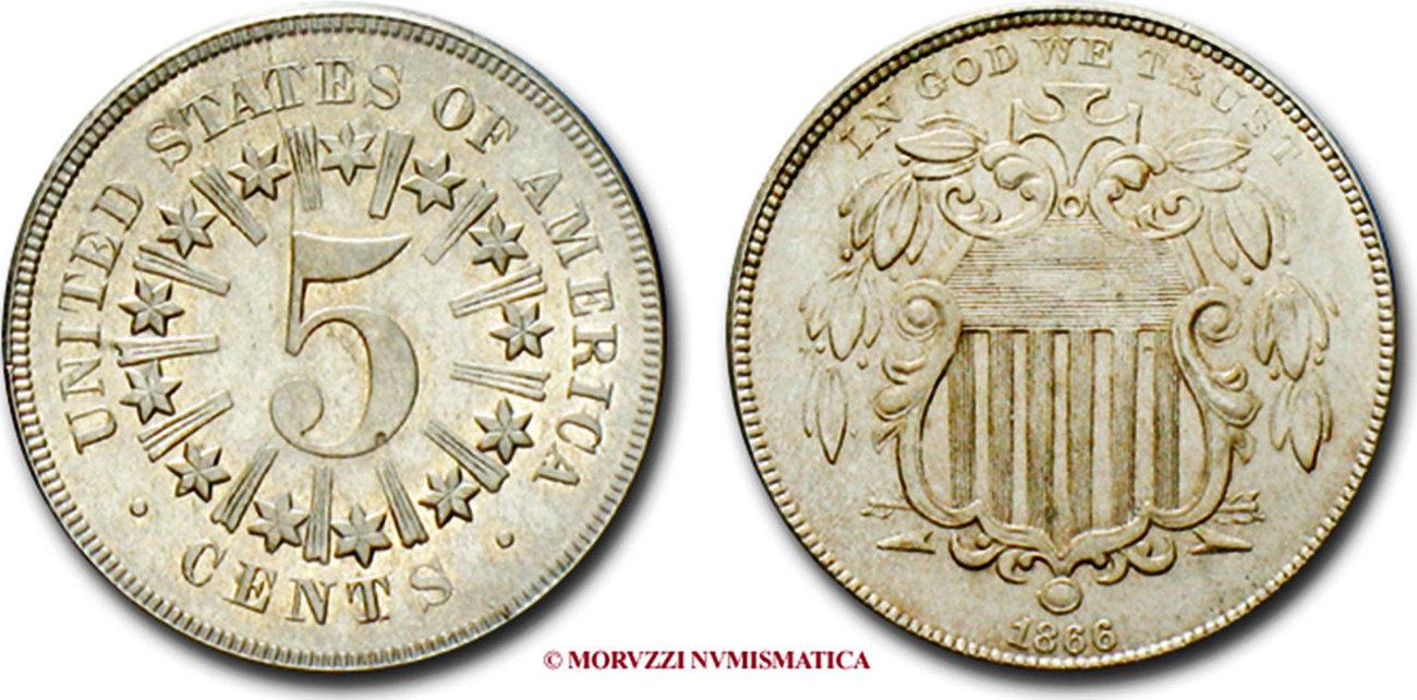 5 Cents Shield Nickel 5 Cent Münze 1866 Usa Vereinigte Staaten Von
