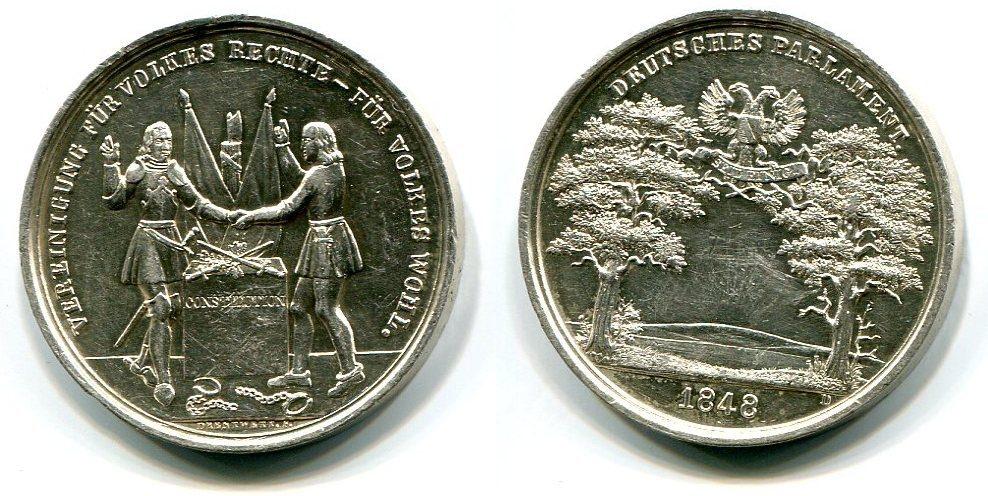 Ag Medaille 1848 Frankfurt Frankfurter Nationalversammlung Vz Ma Shops