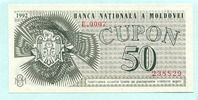 50 Cupon 1992 Moldawien,  Unc  7.85 US$ 7,00 EUR  +  7.85 US$ shipping