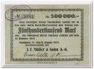 Deutschland 500.000 Mark ~ Hamburg - J. F. Müller & Sohn AG ~