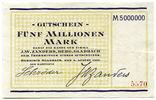 Deutschland, 5 Millionen Mark, ~ Bergisch Gladbach / Firma J.W.Zanders ~