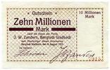 Deutschland, 10 Millionen Mark, ~ Bergisch Gladbach / Firma J.W.Zanders ~