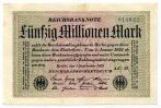 Deutsches Reich / Inflation 50 Mio. Mark ~ Reichsbankdirektorium Berlin ~
