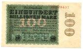 Deutsches Reich 100 Millionen ~ Seltene Variante / Hakensterne, 8st.rot, FZ: CD - 26 schwarz ~