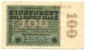 Deutsches Reich 100 Millionen ~ Seltene Variante / Hakensterne, 8st.rot, FZ: CD - 44 schwarz ~