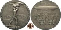 LUFT- UND RAUMFAHRT. Luftschifffahrt. Versilberte Bronze-Gussmedaille für Verdienste um die Zeppelin-Eckener-Spende.