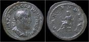 denarius 238AD Roman Pupienus AR denarius Pax seated left VF+