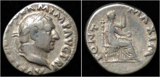 denarius 69AD Roman Vitellius AR denarius Vesta enthroned right VF+