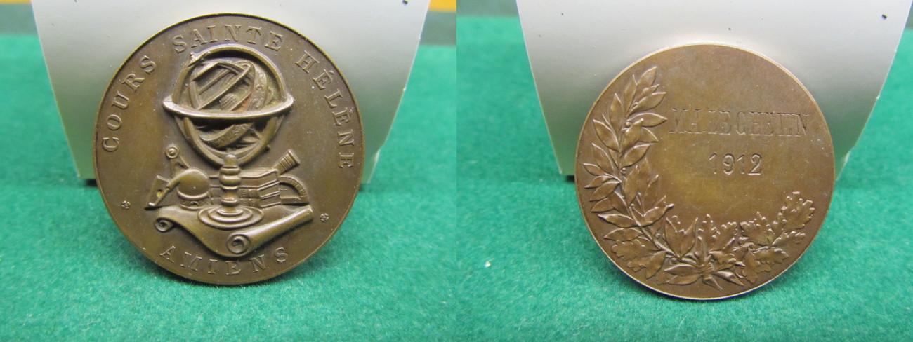 1912 FRANKREICH KUPFERMEDAILLE - COURS SAINTE HELENE - AMIENS - GESTIFTET VON NAPOLEON III. VORZÜGLICH